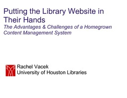 Putting the Library Website in Their Hands: The Advantages